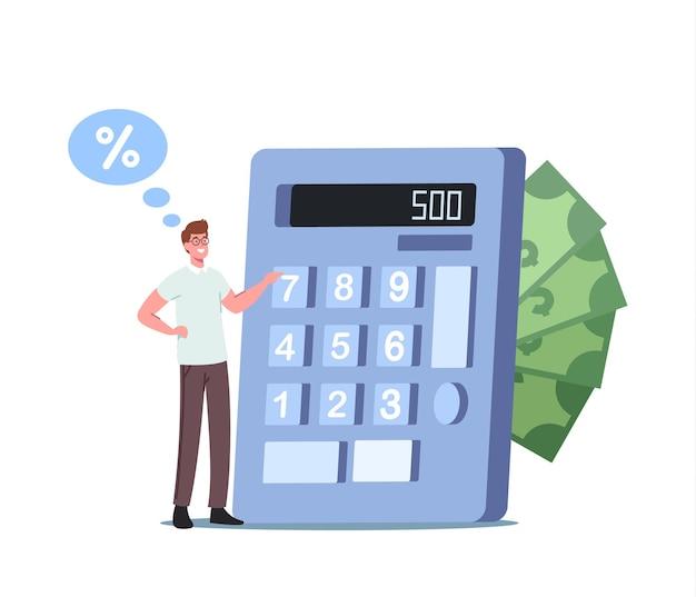 Крошечный мужской персонаж подсчитывает бюджет на огромном калькуляторе. вексель, договор займа, обещание о возврате долга. экономия денег, займа или кредита финансовой концепции. мультфильм люди векторные иллюстрации