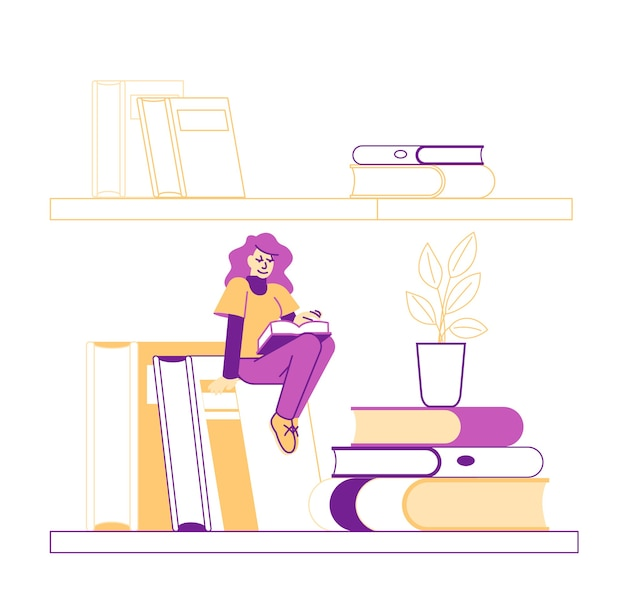 Tiny male character hanging on by rope above bookshelf with huge books