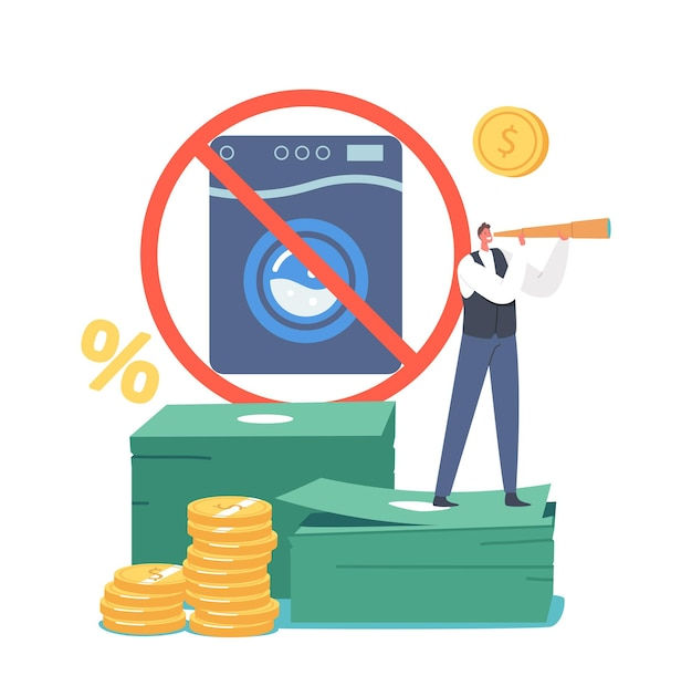 Tiny male character look in spyglass stand on huge money pile near crossed washing machine. aml, campaign against money laundering, end of bribes and corruption. cartoon people vector illustration