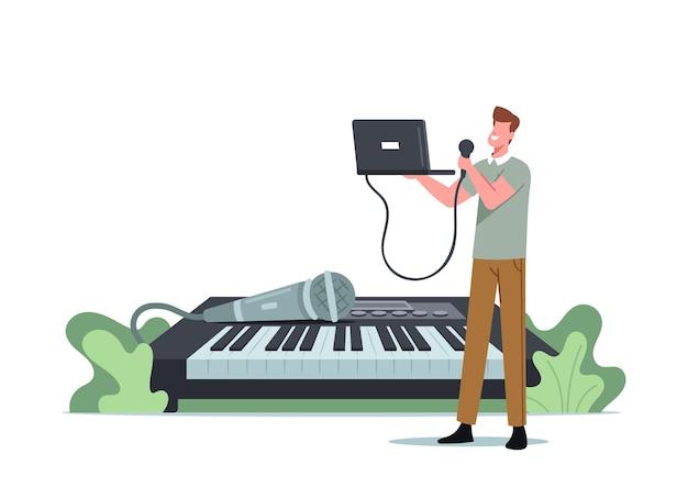 작은 남성 캐릭터는 거대한 신디사이저에서 마이크와 노트북으로 노래합니다. 남자는 보컬 레슨을 받고 음성 노래를 부릅니다. 보컬리스트 학습 수업, 재능 개발. 만화 벡터 일러스트 레이 션 프리미엄 벡터