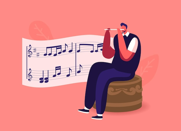 Tiny male character sitting on huge music box playing flute with notes on stave.