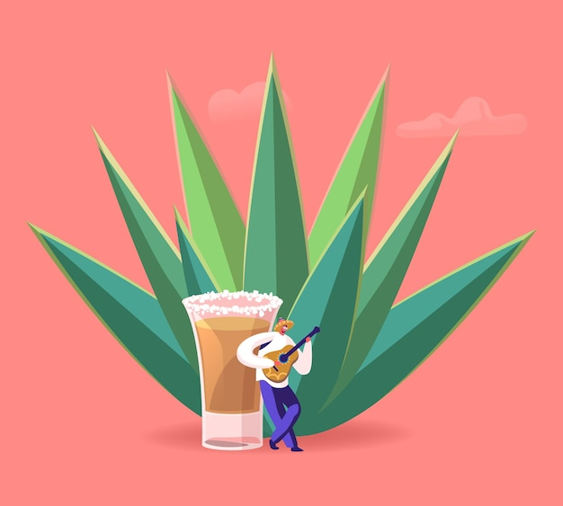 Tiny male character wearing sombrero playing guitar stand at huge agave azul plant and tequila shot