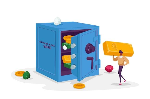 Крошечный мужской персонаж с огромной золотой барной стойкой в открытом сейфе с купюрами и монетами внутри