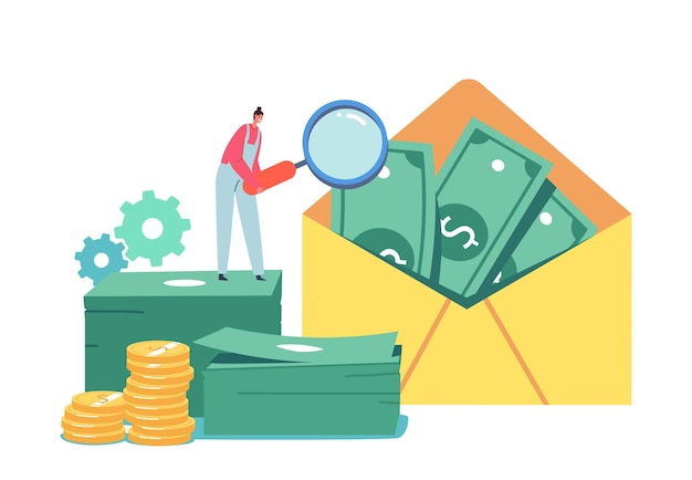 Tiny male character with huge magnifying glass look on money in envelope. aml, campaign against money laundering, end of bribes, corruption and illegal business. cartoon people vector illustration