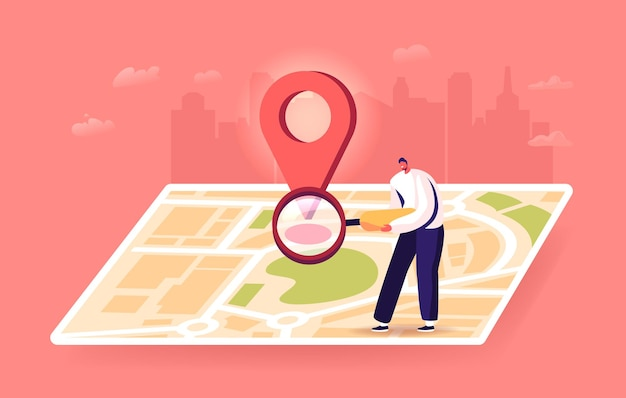 Tiny male character with magnifier at huge map with gps pin finding correct way in big city