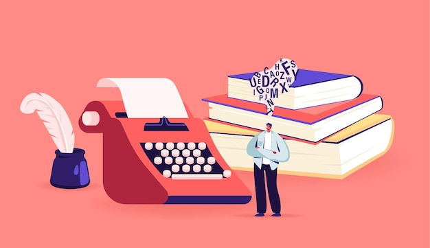 Tiny male character writer or professional author stand at huge typewriter, inkwell and books pile create composition, writing poetry or novel. creativity concept. cartoon people vector illustration