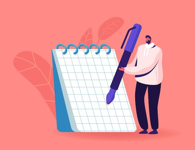 체크 무늬 페이지와 나선형으로 거대한 노트북에 펜으로 작은 남성 문자 쓰기