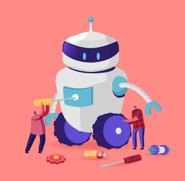 Крошечные персонажи мужского пола делают огромного робота дома или в научной лаборатории