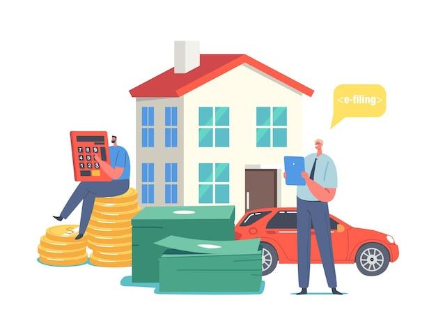 Крошечные персонажи мужского пола, совершающие онлайн-налоговые платежи, мужчина с огромным калькулятором, долларовые монеты, недвижимость и финансовый бюджет для подсчета автомобилей. аудит, сбережения по налогу на прибыль. векторные иллюстрации шаржа