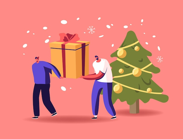 Tiny male characters pull huge gifts box on snowy background with decorated fir tree
