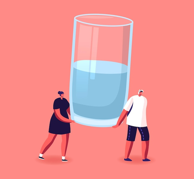 Tiny male and female characters carry huge glass with fresh water