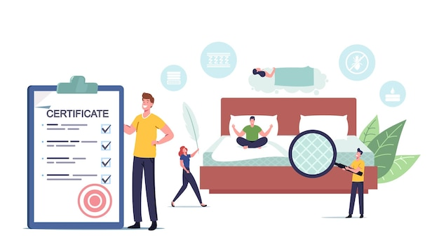 Tiny male and female characters choose and buy correct orthopedic mattress for correct sleeping. man with certificate and magnifier, woman with feather in bedroom. cartoon people vector illustration