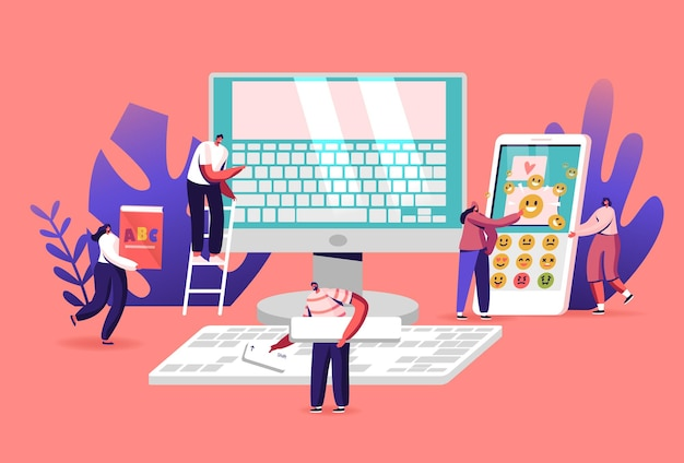 Tiny male and female characters at huge computer monitor with keyboard on screen, abc book and smartphone. typing, office work, education and technology concept. cartoon people vector illustration