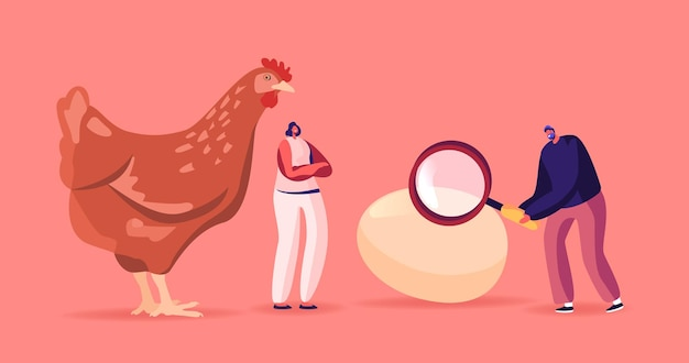 Tiny male and female characters at huge hen with magnifier solve paradox which came first chicken or egg