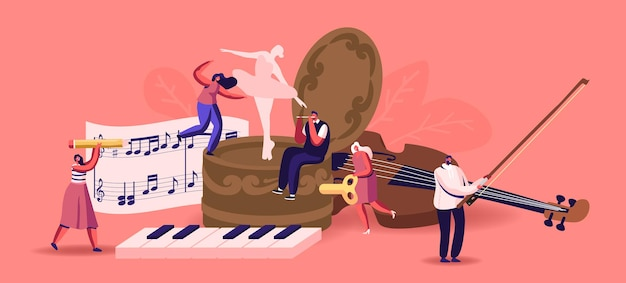 Tiny male female characters playing musical instruments around of huge music box with dancing ballerina. people with violin, flute and piano keyboard write notes on stave. cartoon vector illustration