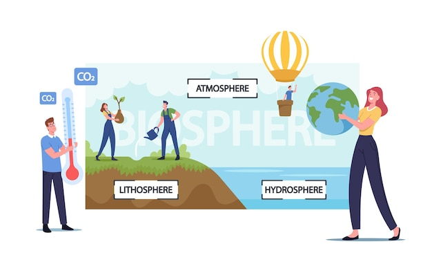 Tiny male and female characters presenting earth biosphere infographics. atmosphere, lithosphere and hydrospehre. men and women watering plants, flying on balloon. cartoon people vector illustration
