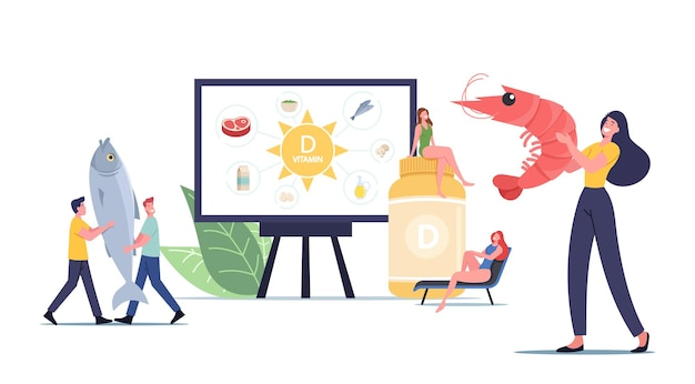 Tiny male and female characters presenting sources of vitamin d seafood, organic natural products and sunbathing. nutritional addictive supplements for health. cartoon people vector illustration