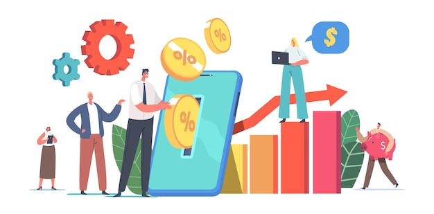 Tiny male and female characters put golden coins into huge smartphone screen making mobile savings and online financial investment deposit account, piggy bank. cartoon people vector illustration