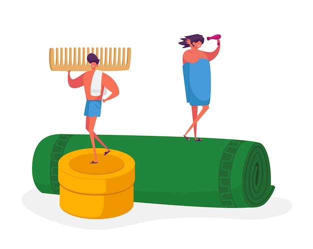 Tiny male and female characters stand on huge towel roll