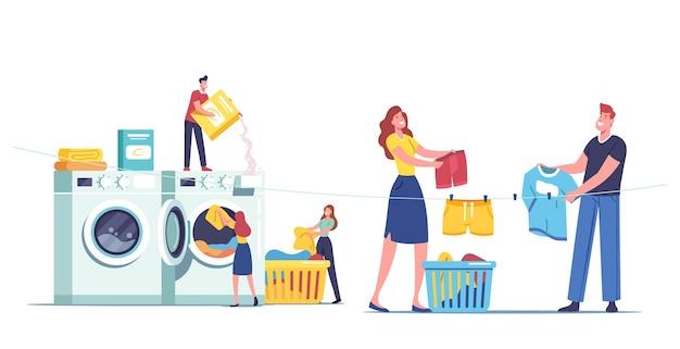 세탁소를 방문하는 작은 남성 여성 캐릭터는 더러운 옷을 거대한 세탁기에 싣고 깨끗한 드레스를 꺼내고 밧줄에 매달아 세탁 서비스 개념을 제공합니다. 만화 사람들 벡터 일러스트 레이 션