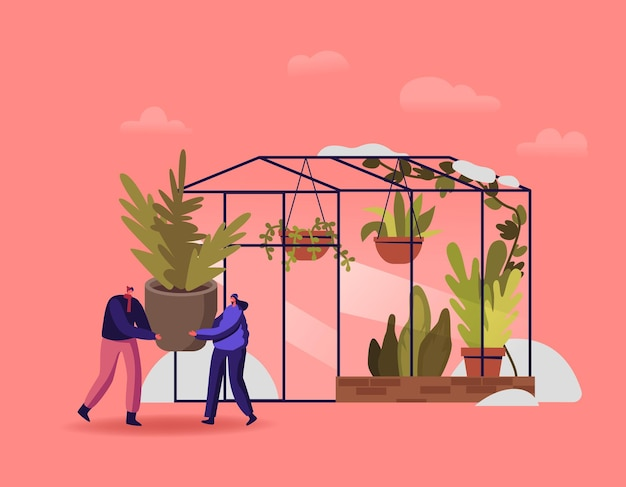 Tiny male and female characters working in winter garden illustration