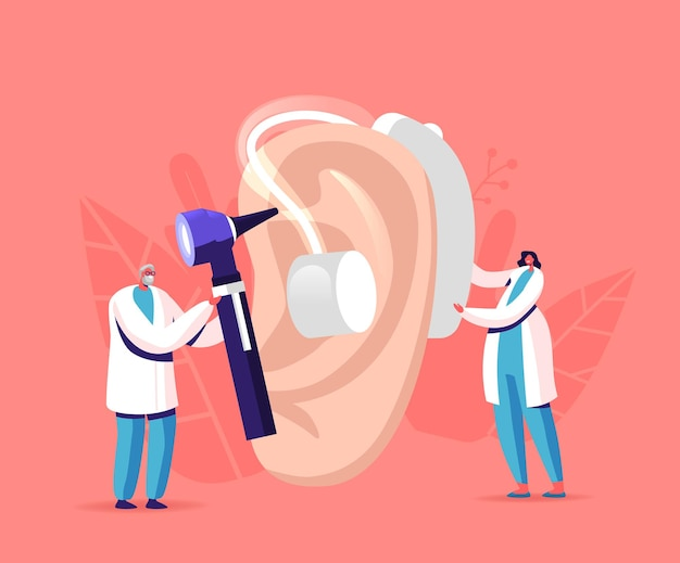 Tiny male female doctors characters fitting deaf aid on huge patient ear