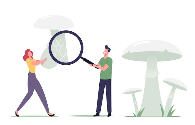 Tiny male and female mushroomer characters learning poisonous mushroom with huge magnifying glass