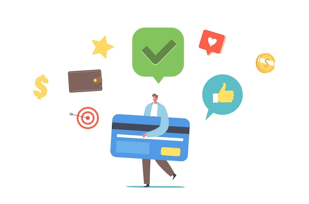 Tiny man carry huge card got good credit score rate. cashless payment or transfer money. banking transaction. male character using bank services for shopping. cartoon people vector illustration