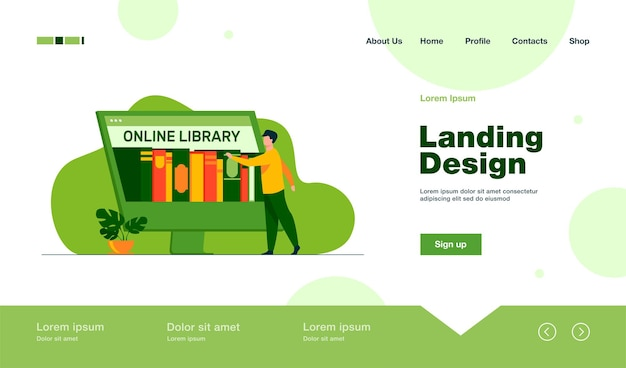 Крошечный человек выбирает книгу на целевой странице онлайн-библиотеки в плоском стиле