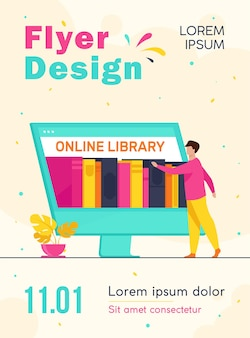 Tiny man choosing book in online library flyer template