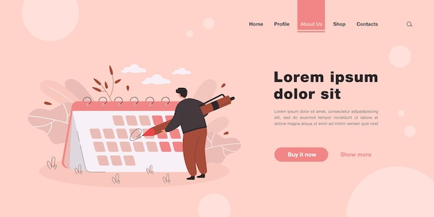 Tiny man in front of giant calendar cartoon landing page in flat style