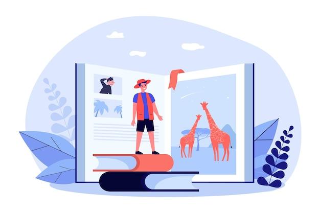 サファリについての本の前にいる小さな男。アフリカの自然について読む漫画のキャラクターフラットベクトルイラスト。冒険、観光、バナー、ウェブサイトのデザインまたはランディングウェブページの旅行のコンセプト
