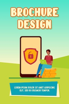 Tiny man investing money safely online. coin, smartphone, padlock flat vector illustration