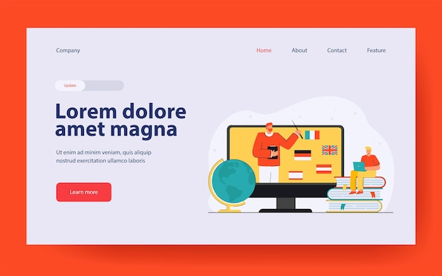 Tiny man learning foreign languages online landing page in flat style