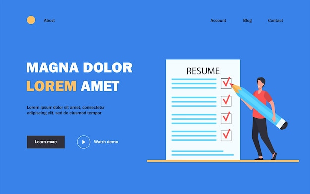Tiny man preparing resume for new work search landing page template