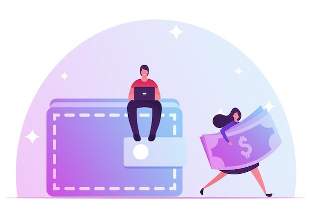 Крошечный человек сидит на огромном кошельке, работая на ноутбуке. женщина носить долларовые купюры. мультфильм плоский иллюстрация