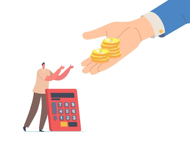 Tiny man with calculator stretching hands to huge palm giving gold coins. male character get tax, finance help