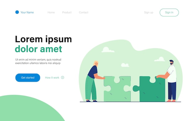 Tiny man and woman putting together giant puzzle landing page template