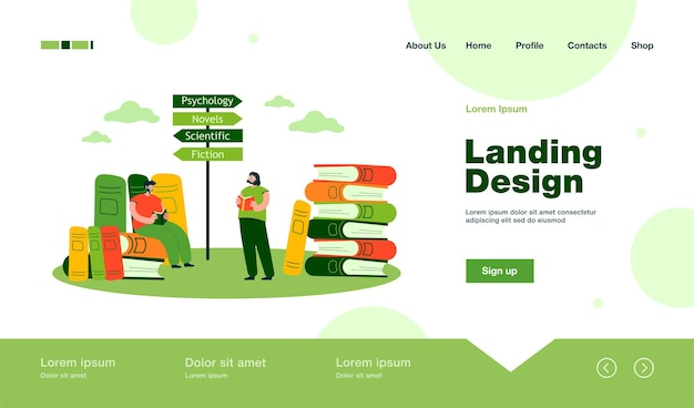 Tiny man and woman reading books of different genres landing page in flat style