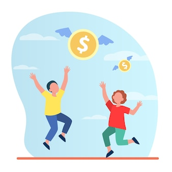 Tiny man and woman trying to catch flying money illustration.