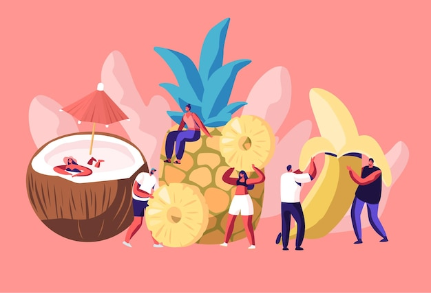 Tiny men and women characters and huge ripe fruits coconut, pineapple and banana