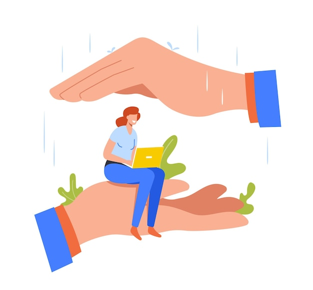 Tiny office woman character sitting at huge hand covered with palm protected from rain. employee girl under leader protection, benefits of working in company workplace. cartoon vector illustration