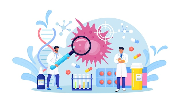Tiny oncologist doctors diagnose cancer disease. oncology examination, checkup and internal biopsy screening for patient diagnostics. chemotherapy, biopsy, therapy, tumor removal