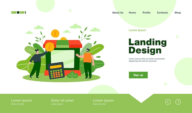 Tiny partners giving subsidy assistance to business landing page in flat style