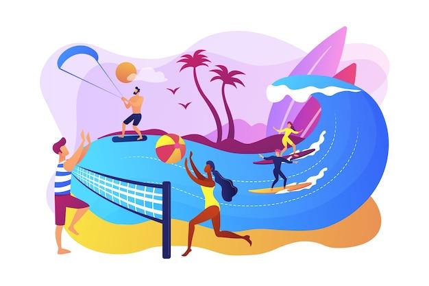 バレーボール、サーフィン、カイトサーフィンをしている大人の小さな人々。夏のビーチアクティビティ、海岸のエンターテイメント、海のアニメーションサービスのコンセプト。