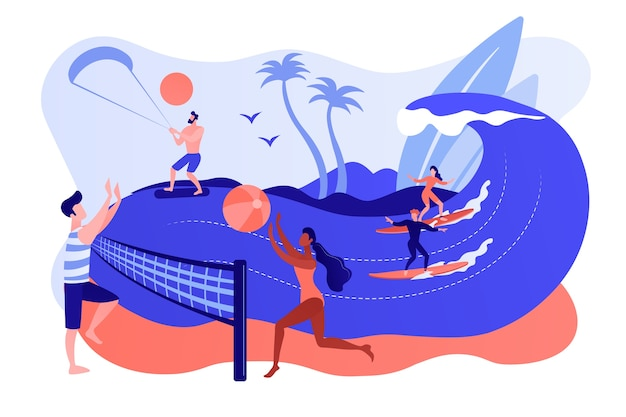Tiny people adults playing volleyball, surfing and kitesurfing. summer beach activities, seacoast entertainment, sea animation services concept. pinkish coral bluevector isolated illustration
