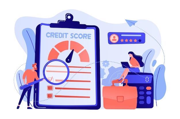 将来の債務者が債務を支払う能力を評価する小さな人々のアナリスト。信用格付け、信用リスク管理、信用格付け機関の概念図
