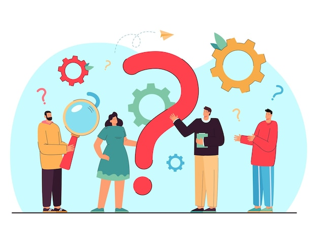 Tiny people asking questions and getting answers isolated flat illustration