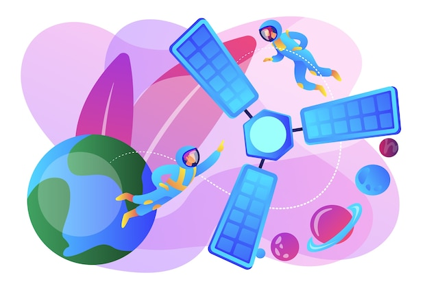 宇宙空間にいる小さな人々の宇宙飛行士と地球を周回する衛星。衛星打ち上げ、軌道打ち上げシステム、キャリアロケットスタートコンセプト。明るく鮮やかな紫の孤立したイラスト