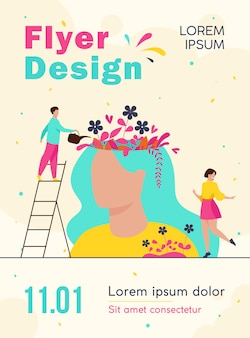 Tiny people and beautiful flower garden inside female head isolated flyer template